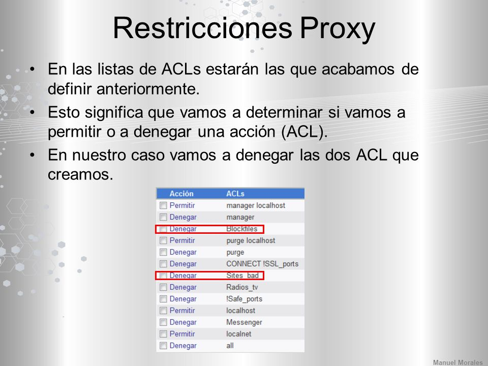 Restricciones Proxy En las listas de ACLs estarán las que acabamos de definir anteriormente.