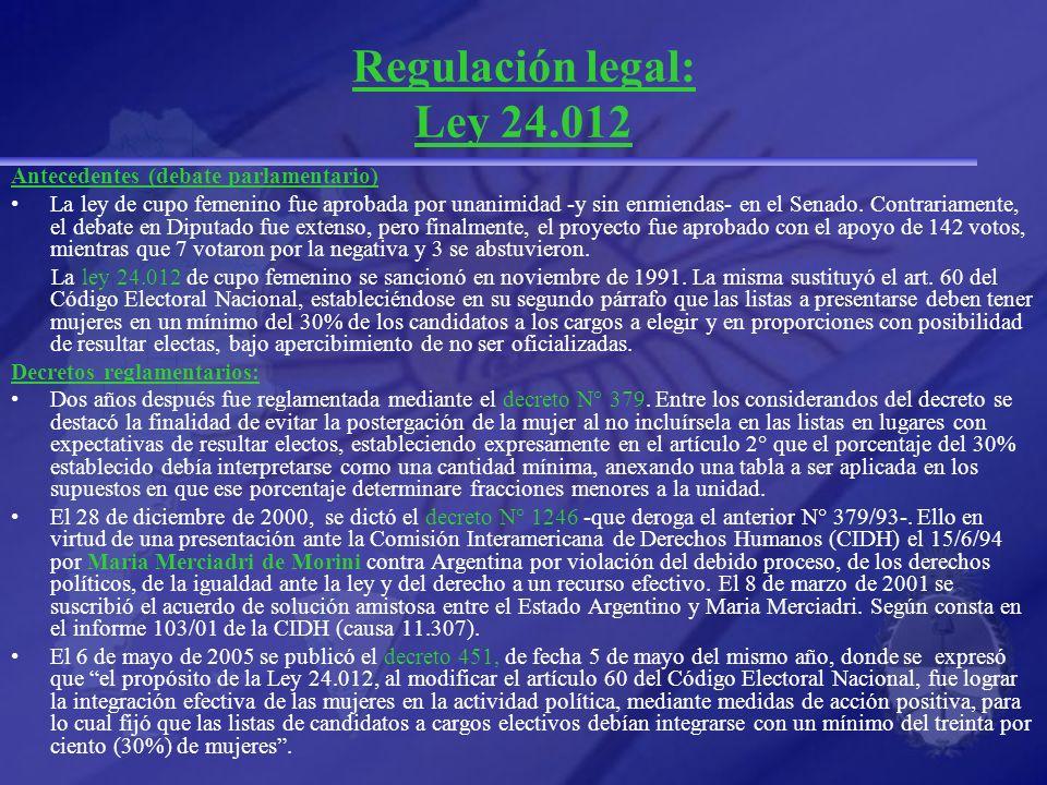 Regulación legal: Ley 24.012 Antecedentes (debate parlamentario) La ley de cupo femenino fue aprobada por unanimidad -y sin enmiendas- en el Senado. C