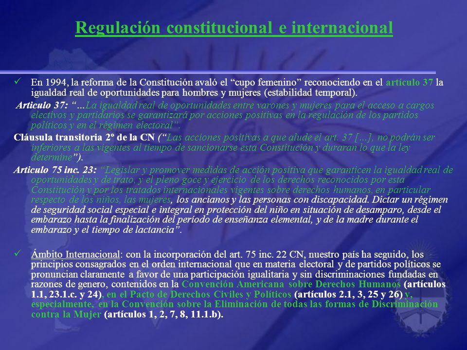 Regulación constitucional e internacional En 1994, la reforma de la Constitución avaló el cupo femenino reconociendo en el artículo 37 la igualdad rea