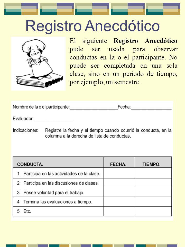 Registro Anecdótico El siguiente Registro Anecdótico pude ser usada para observar conductas en la o el participante. No puede ser completada en una so