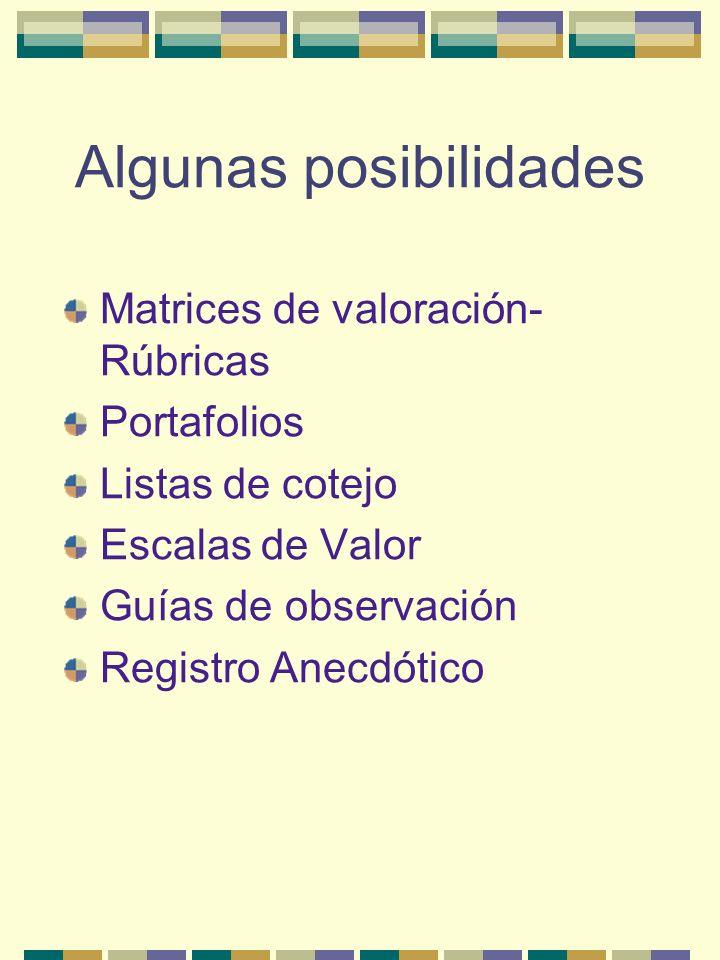 Algunas posibilidades Matrices de valoración- Rúbricas Portafolios Listas de cotejo Escalas de Valor Guías de observación Registro Anecdótico