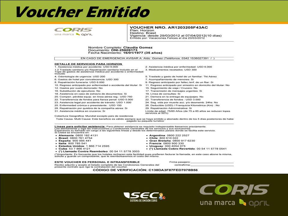 Emisión Voucher Familiar El sistema permite la emisión familiar desde 3 a 5 pax.