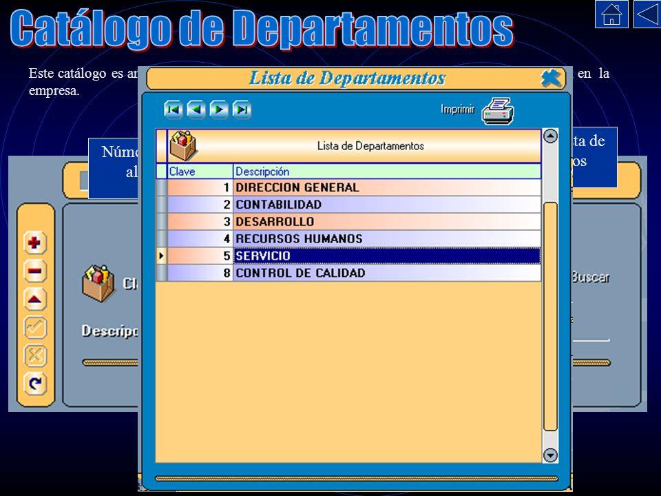 Este catálogo es análogo al anterior, solo consiste en capturar los Departamentos que existan en la empresa. Número para identificar al departamento.