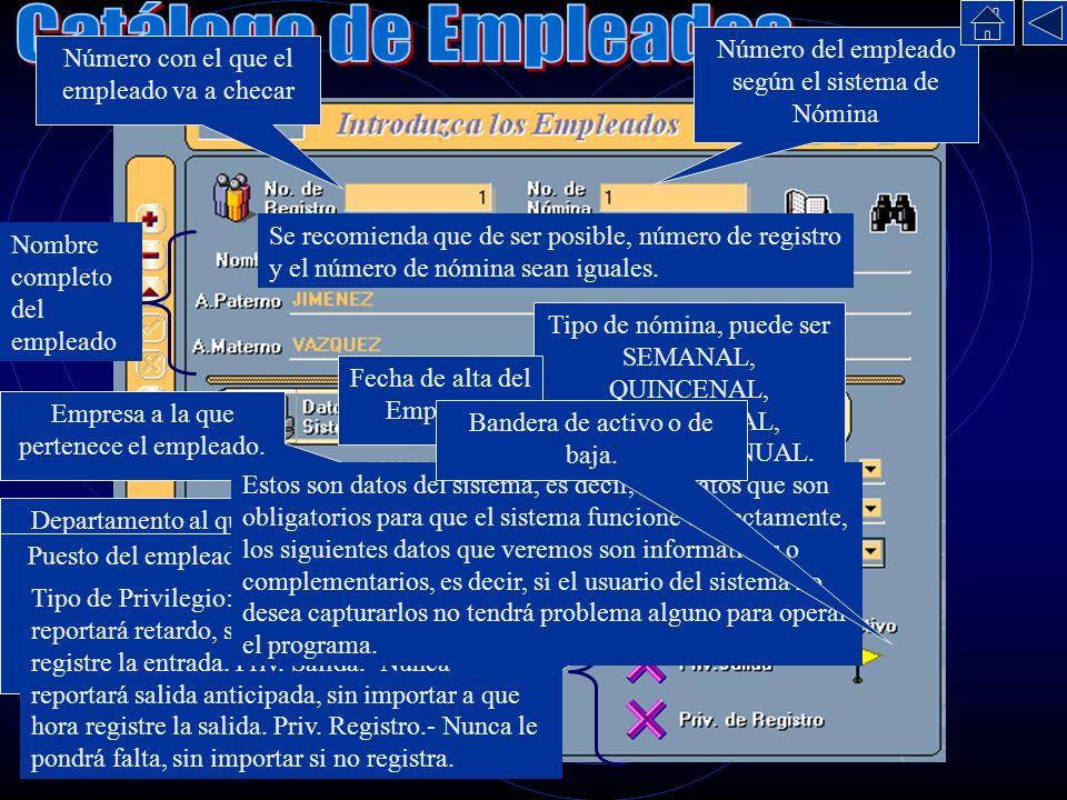 Número con el que el empleado va a checar Número del empleado según el sistema de Nómina Se recomienda que de ser posible, número de registro y el núm