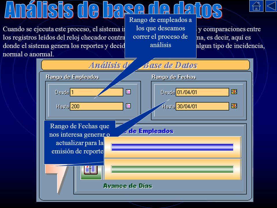 Cuando se ejecuta este proceso, el sistema inicia una serie de cálculos y comparaciones entre los registros leídos del reloj checador contra la base d