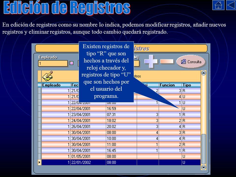 En edición de registros como su nombre lo indica, podemos modificar registros, añadir nuevos registros y eliminar registros, aunque todo cambio quedar