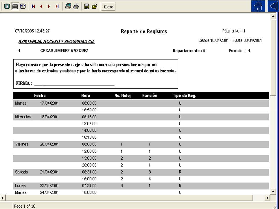 Este reporte muestra unicamente los registros hechos en el reloj (o hechos por el operador del programa).