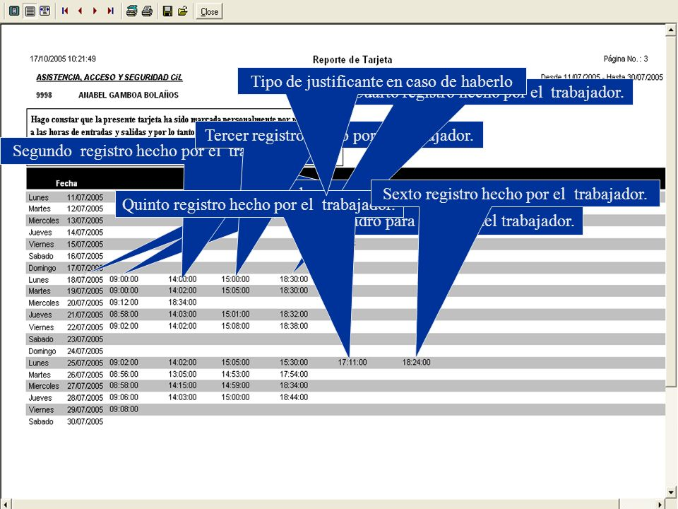 Nos muestra todos los registros obtenidos durante el día. Cuadro para la firma del trabajador. Fecha de registro. Primer registro hecho por el trabaja