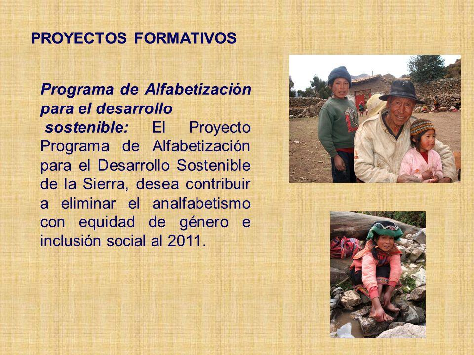 PROYECTOS FORMATIVOS Programa de Alfabetización para el desarrollo sostenible: El Proyecto Programa de Alfabetización para el Desarrollo Sostenible de la Sierra, desea contribuir a eliminar el analfabetismo con equidad de género e inclusión social al 2011.