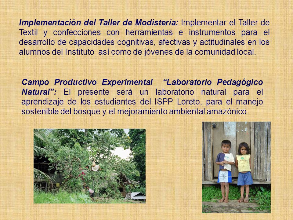 Implementación del Taller de Modistería: Implementar el Taller de Textil y confecciones con herramientas e instrumentos para el desarrollo de capacidades cognitivas, afectivas y actitudinales en los alumnos del Instituto así como de jóvenes de la comunidad local.