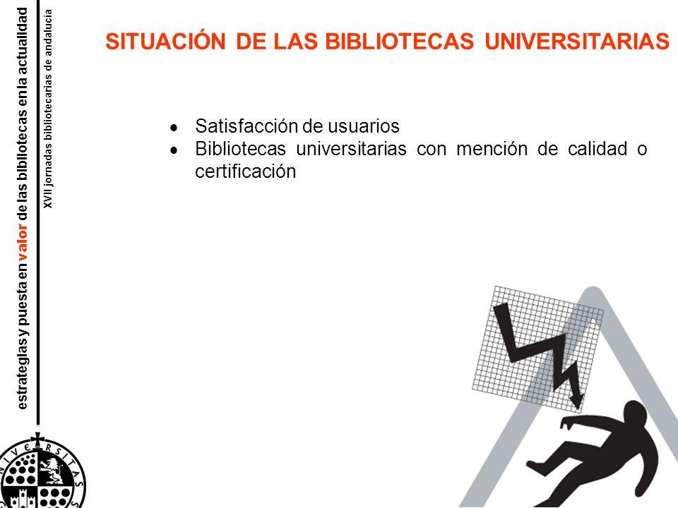 alfabetización informacional materiales software personal estrategias y puesta en valor de las bibliotecas en la actualidad XVII jornadas bibliotecarias de andalucía SITUACIÓN DE LAS BIBLIOTECAS UNIVERSITARIAS Satisfacción de usuarios Bibliotecas universitarias con mención de calidad o certificación
