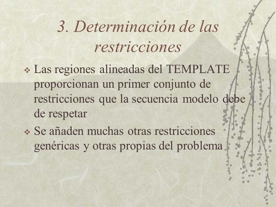 3. Determinación de las restricciones Las regiones alineadas del TEMPLATE proporcionan un primer conjunto de restricciones que la secuencia modelo deb