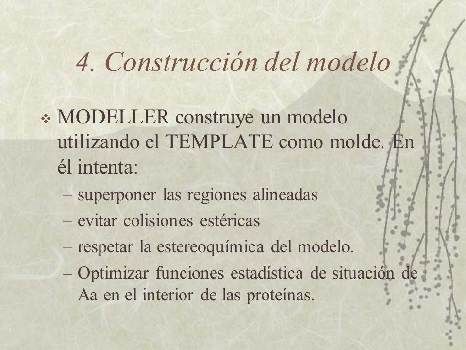 4. Construcción del modelo MODELLER construye un modelo utilizando el TEMPLATE como molde.