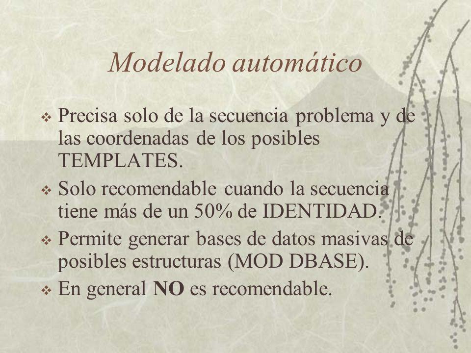 Modelado automático Precisa solo de la secuencia problema y de las coordenadas de los posibles TEMPLATES.