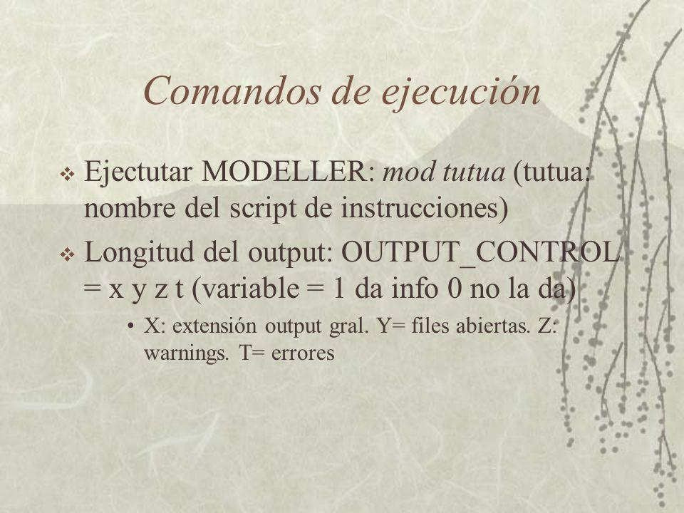 Comandos de ejecución Ejectutar MODELLER: mod tutua (tutua: nombre del script de instrucciones) Longitud del output: OUTPUT_CONTROL = x y z t (variable = 1 da info 0 no la da) X: extensión output gral.