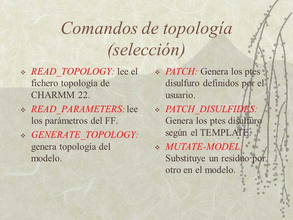 Comandos de topología (selección) READ_TOPOLOGY: lee el fichero topología de CHARMM 22.