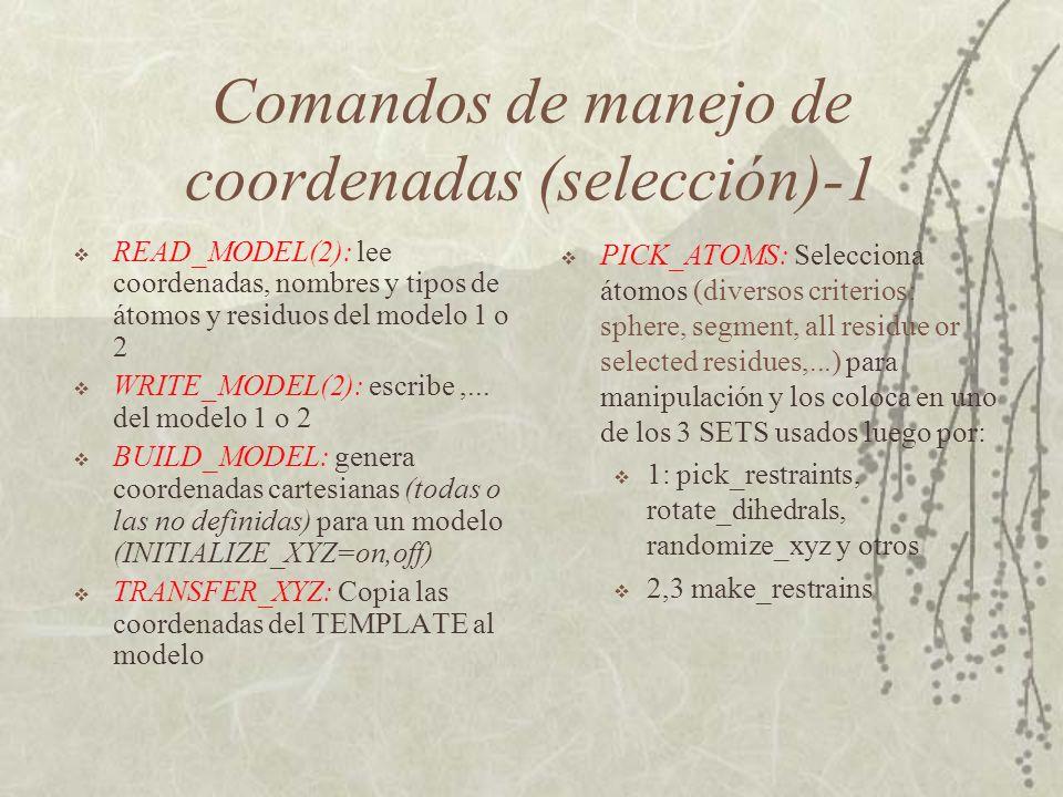 Comandos de manejo de coordenadas (selección)-1 READ_MODEL(2): lee coordenadas, nombres y tipos de átomos y residuos del modelo 1 o 2 WRITE_MODEL(2): escribe,...