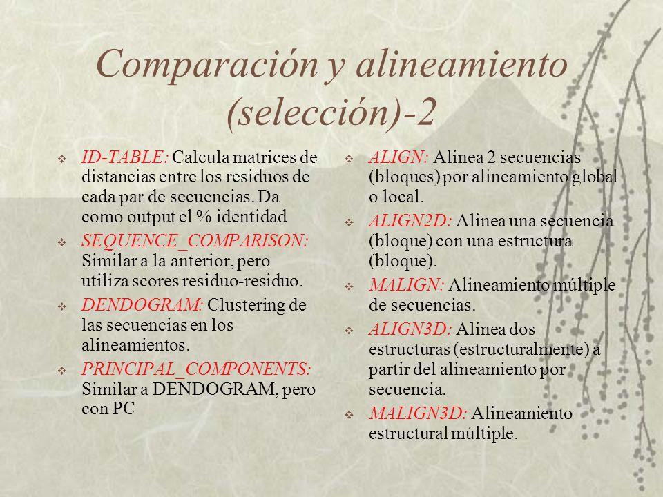 Comparación y alineamiento (selección)-2 ID-TABLE: Calcula matrices de distancias entre los residuos de cada par de secuencias.