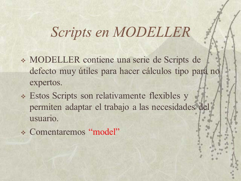 Scripts en MODELLER MODELLER contiene una serie de Scripts de defecto muy útiles para hacer cálculos tipo para no expertos.