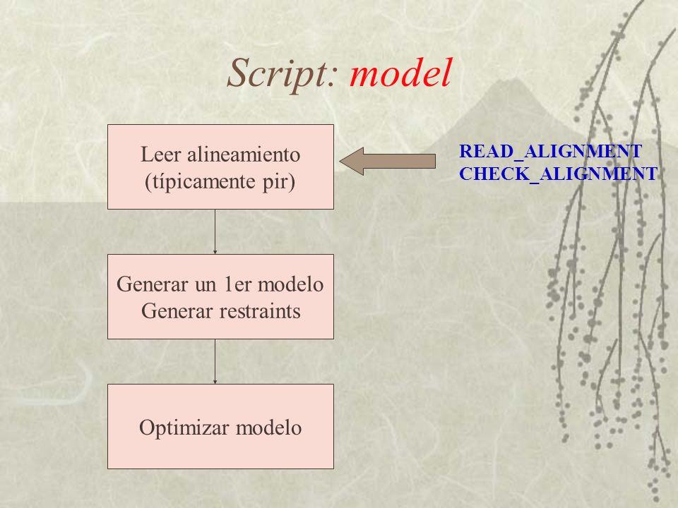 Script: model Leer alineamiento (típicamente pir) Generar un 1er modelo Generar restraints Optimizar modelo READ_ALIGNMENT CHECK_ALIGNMENT