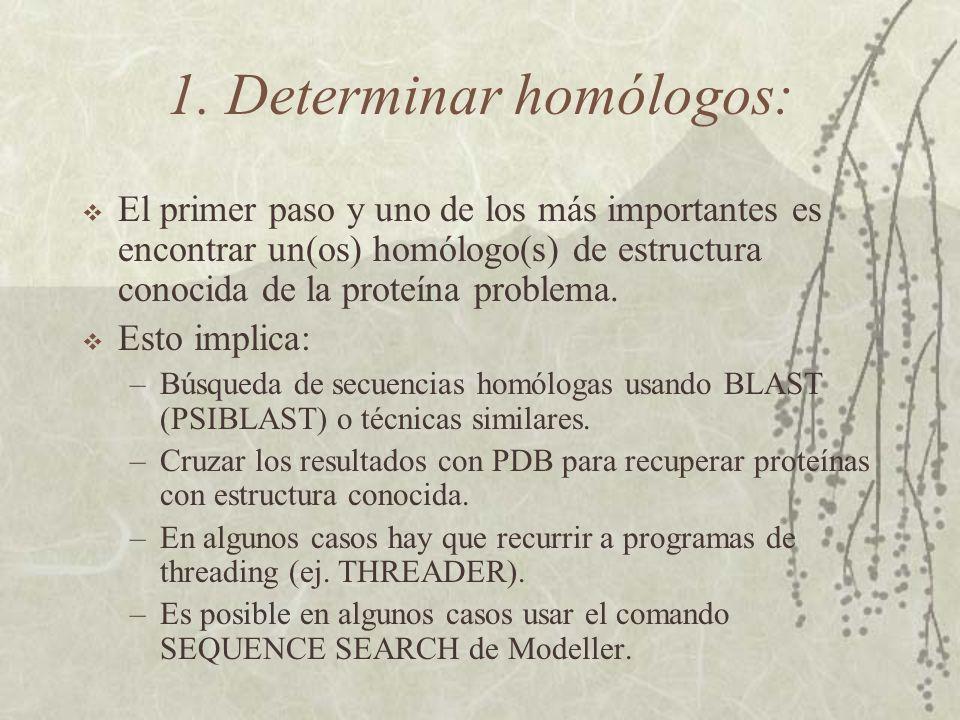 1. Determinar homólogos: El primer paso y uno de los más importantes es encontrar un(os) homólogo(s) de estructura conocida de la proteína problema. E