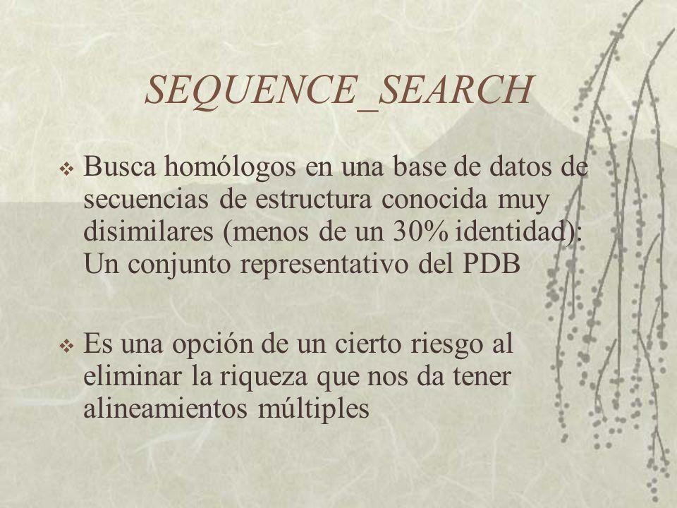 SEQUENCE_SEARCH Busca homólogos en una base de datos de secuencias de estructura conocida muy disimilares (menos de un 30% identidad): Un conjunto representativo del PDB Es una opción de un cierto riesgo al eliminar la riqueza que nos da tener alineamientos múltiples