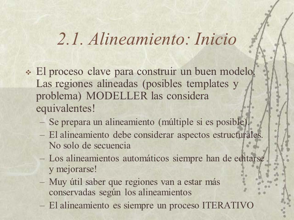 2.1. Alineamiento: Inicio El proceso clave para construir un buen modelo.