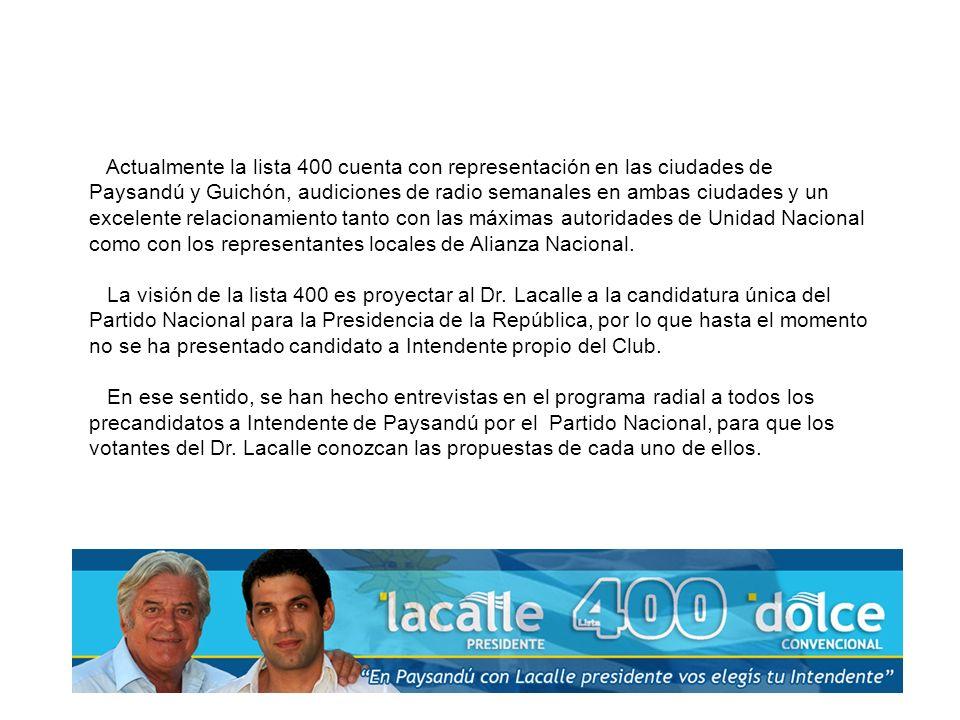 Actualmente la lista 400 cuenta con representación en las ciudades de Paysandú y Guichón, audiciones de radio semanales en ambas ciudades y un excelente relacionamiento tanto con las máximas autoridades de Unidad Nacional como con los representantes locales de Alianza Nacional.