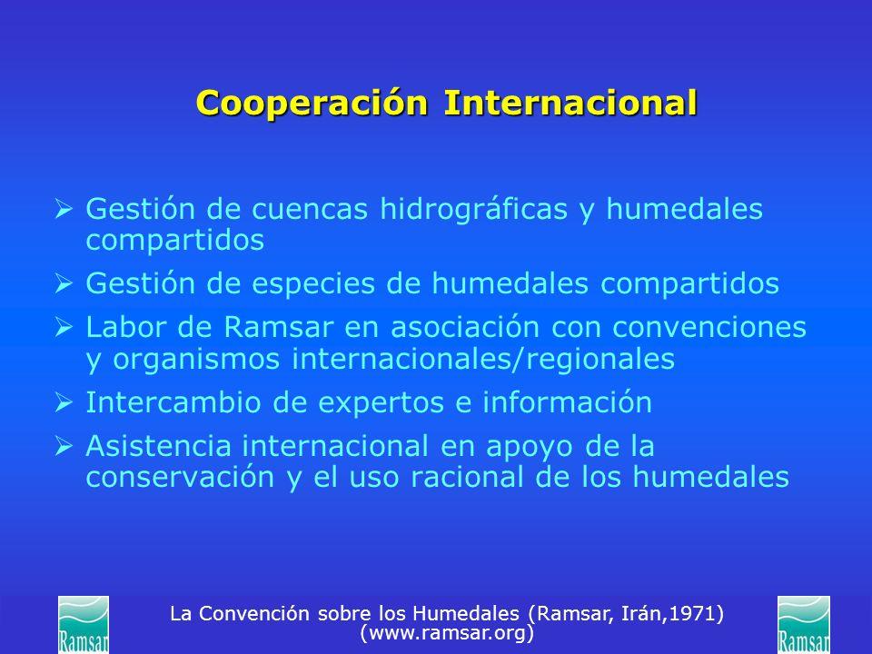 La Convención sobre los Humedales (Ramsar, Irán,1971) (www.ramsar.org) Cooperación Internacional Gestión de cuencas hidrográficas y humedales comparti
