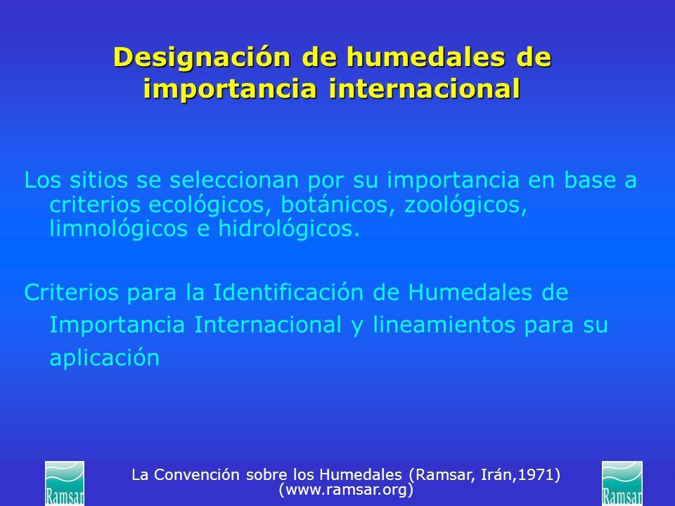 La Convención sobre los Humedales (Ramsar, Irán,1971) (www.ramsar.org) Designación de humedales de importancia internacional Los sitios se seleccionan