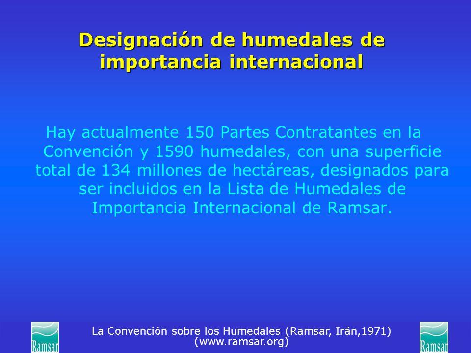 La Convención sobre los Humedales (Ramsar, Irán,1971) (www.ramsar.org) Designación de humedales de importancia internacional Hay actualmente 150 Parte