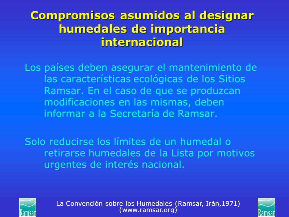 La Convención sobre los Humedales (Ramsar, Irán,1971) (www.ramsar.org) Compromisos asumidos al designar humedales de importancia internacional Los paí
