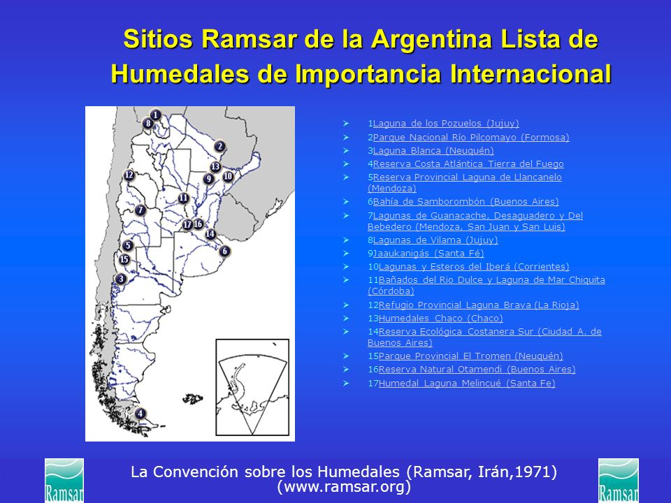 La Convención sobre los Humedales (Ramsar, Irán,1971) (www.ramsar.org) Sitios Ramsar de la Argentina Lista de Humedales de Importancia Internacional 1