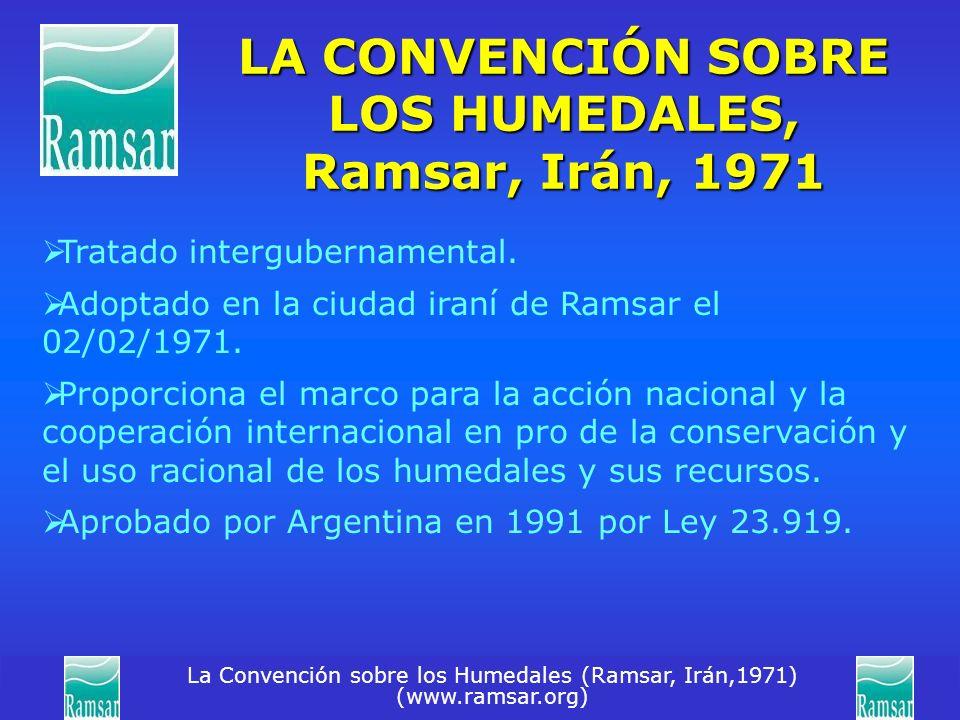 La Convención sobre los Humedales (Ramsar, Irán,1971) (www.ramsar.org) LA CONVENCIÓN SOBRE LOS HUMEDALES, Ramsar, Irán, 1971 Tratado intergubernamenta