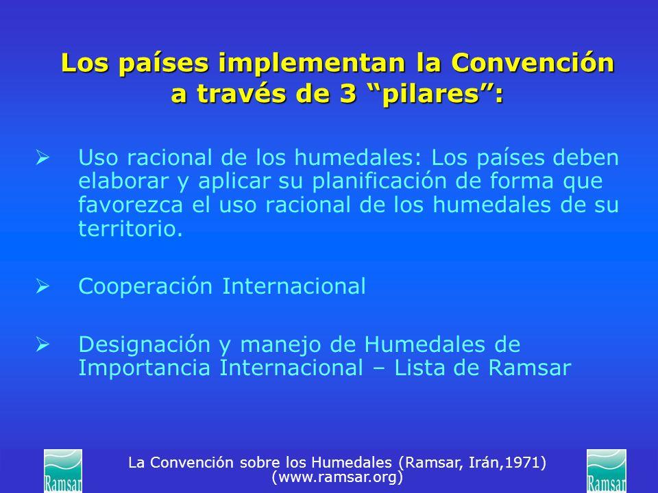 La Convención sobre los Humedales (Ramsar, Irán,1971) (www.ramsar.org) Los países implementan la Convención a través de 3 pilares: Uso racional de los