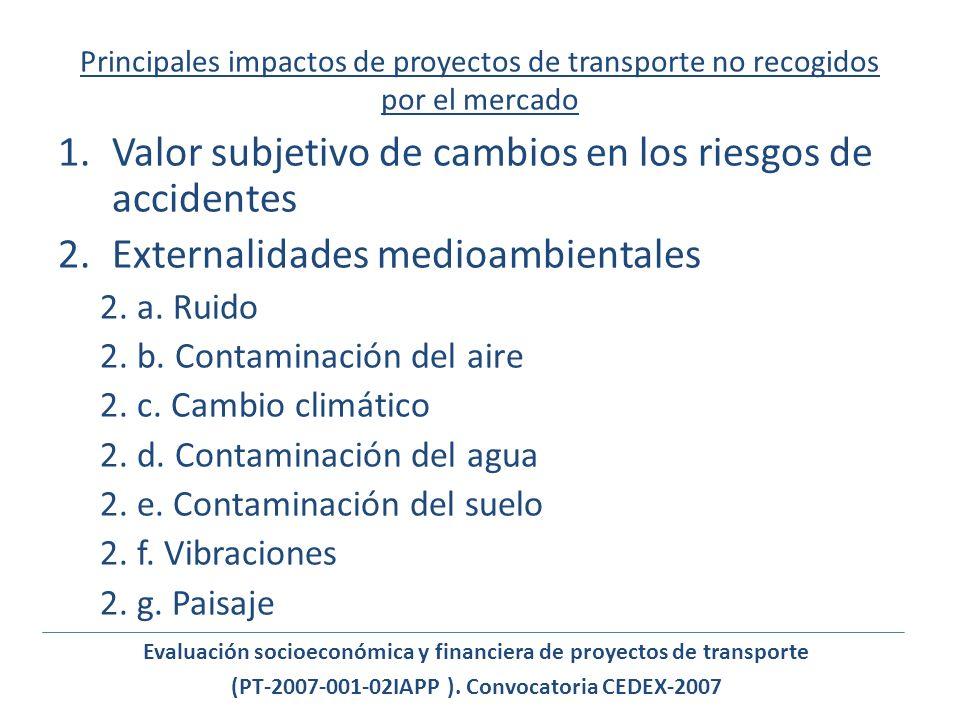 Principales impactos de proyectos de transporte no recogidos por el mercado 1.Valor subjetivo de cambios en los riesgos de accidentes 2.Externalidades