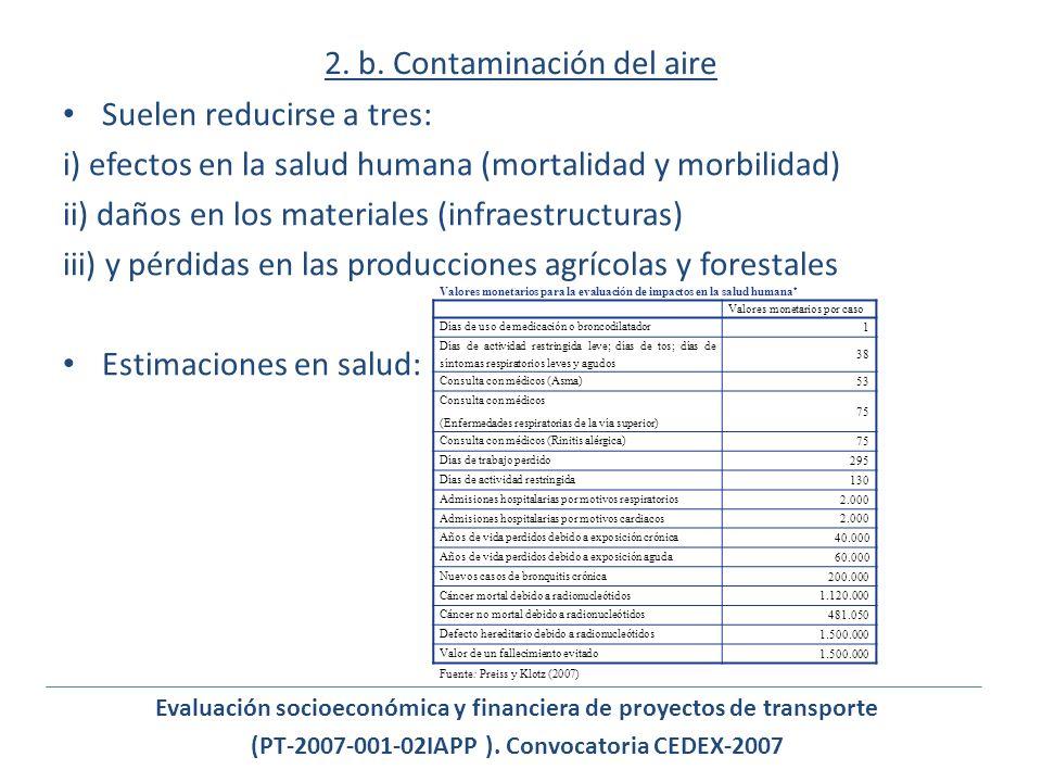 2. b. Contaminación del aire Suelen reducirse a tres: i) efectos en la salud humana (mortalidad y morbilidad) ii) daños en los materiales (infraestruc