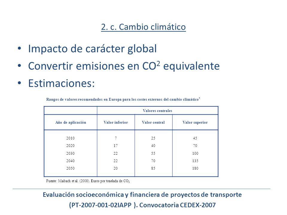 2. c. Cambio climático Impacto de carácter global Convertir emisiones en CO 2 equivalente Estimaciones: Rangos de valores recomendados en Europa para