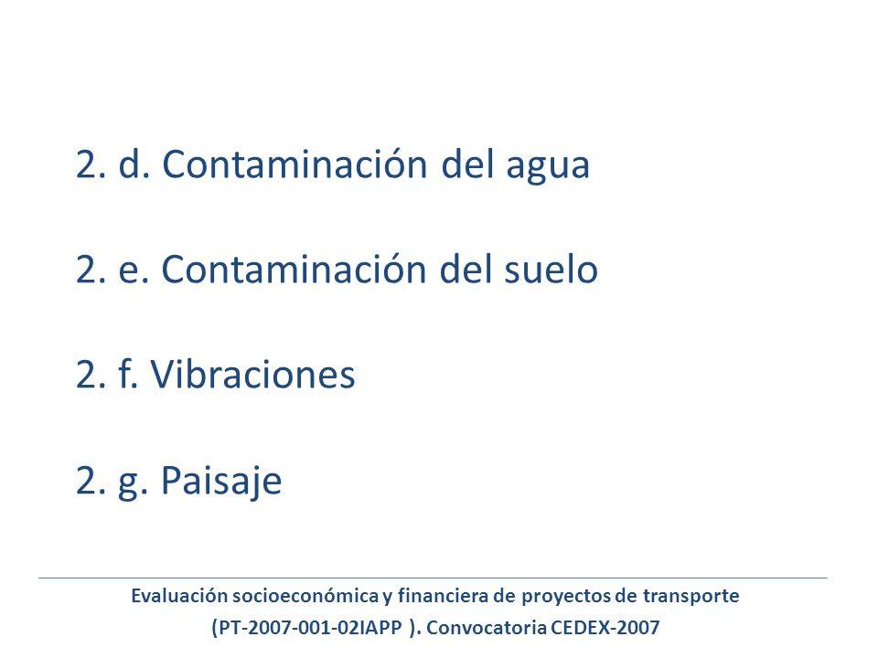 2. d. Contaminación del agua 2. e. Contaminación del suelo 2. f. Vibraciones 2. g. Paisaje Evaluación socioeconómica y financiera de proyectos de tran