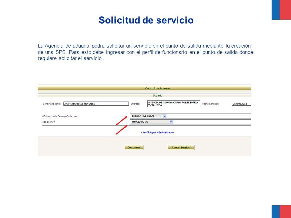 Solicitud de servicio La Agencia de aduana podrá solicitar un servicio en el punto de salida mediante la creación de una SPS. Para esto debe ingresar