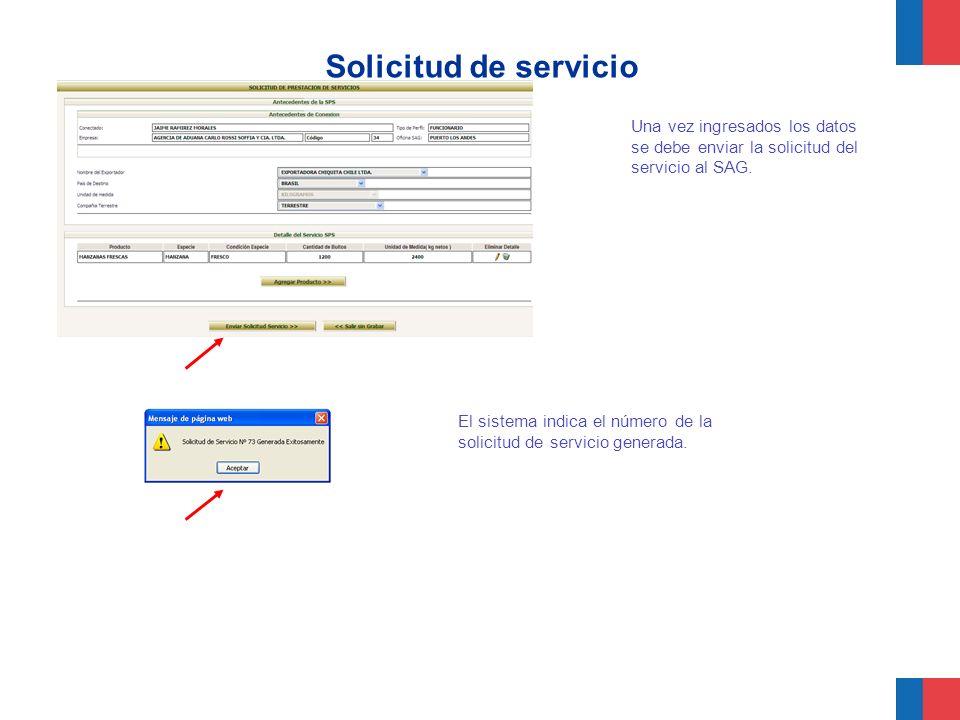 Solicitud de servicio Una vez ingresados los datos se debe enviar la solicitud del servicio al SAG. El sistema indica el número de la solicitud de ser