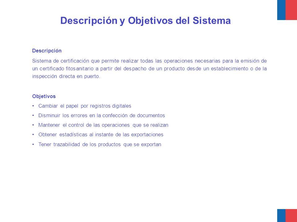 Descripción y Objetivos del Sistema Descripción Sistema de certificación que permite realizar todas las operaciones necesarias para la emisión de un c