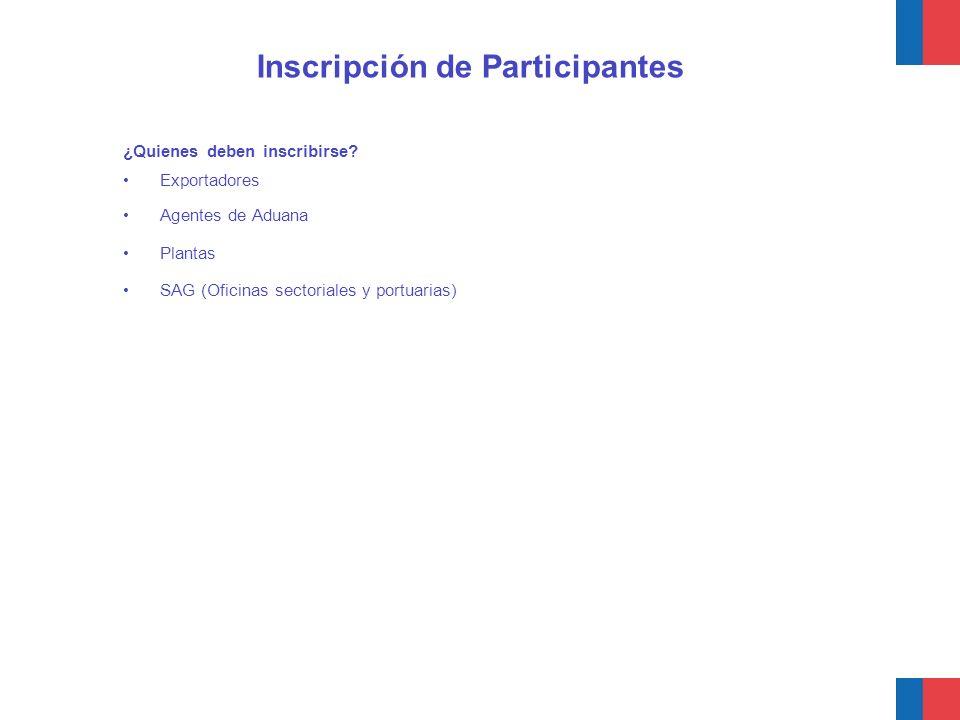 ¿Quienes deben inscribirse? Exportadores Agentes de Aduana Plantas SAG (Oficinas sectoriales y portuarias) Inscripción de Participantes