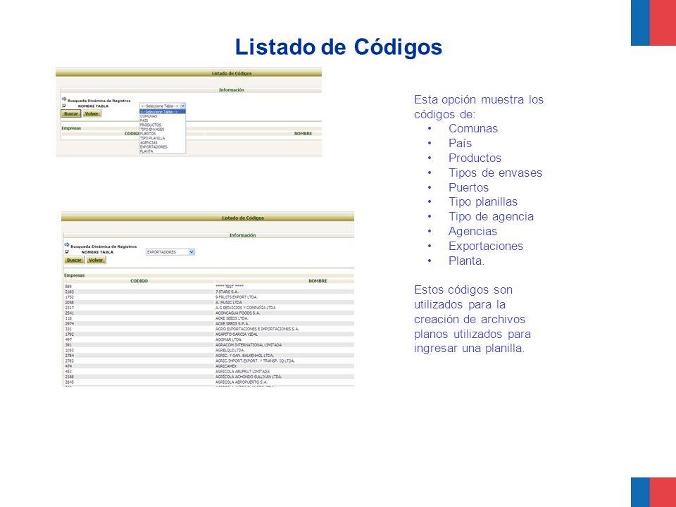 Listado de Códigos Esta opción muestra los códigos de: Comunas País Productos Tipos de envases Puertos Tipo planillas Tipo de agencia Agencias Exporta