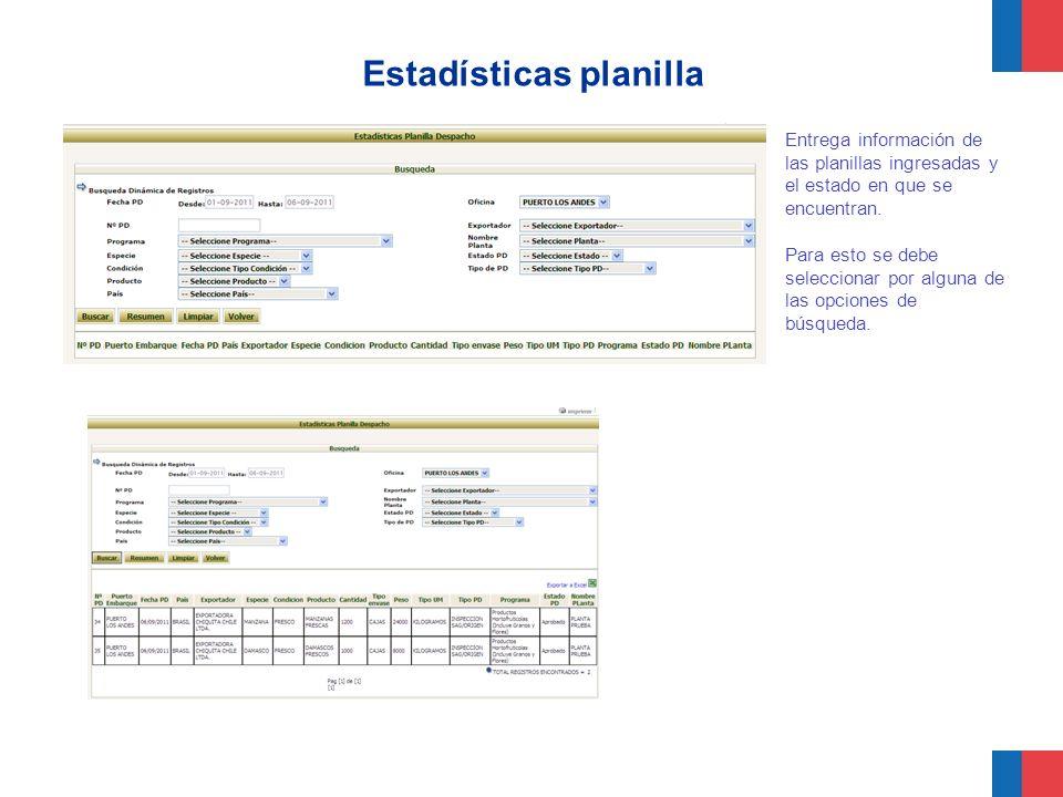 Estadísticas planilla Entrega información de las planillas ingresadas y el estado en que se encuentran. Para esto se debe seleccionar por alguna de la