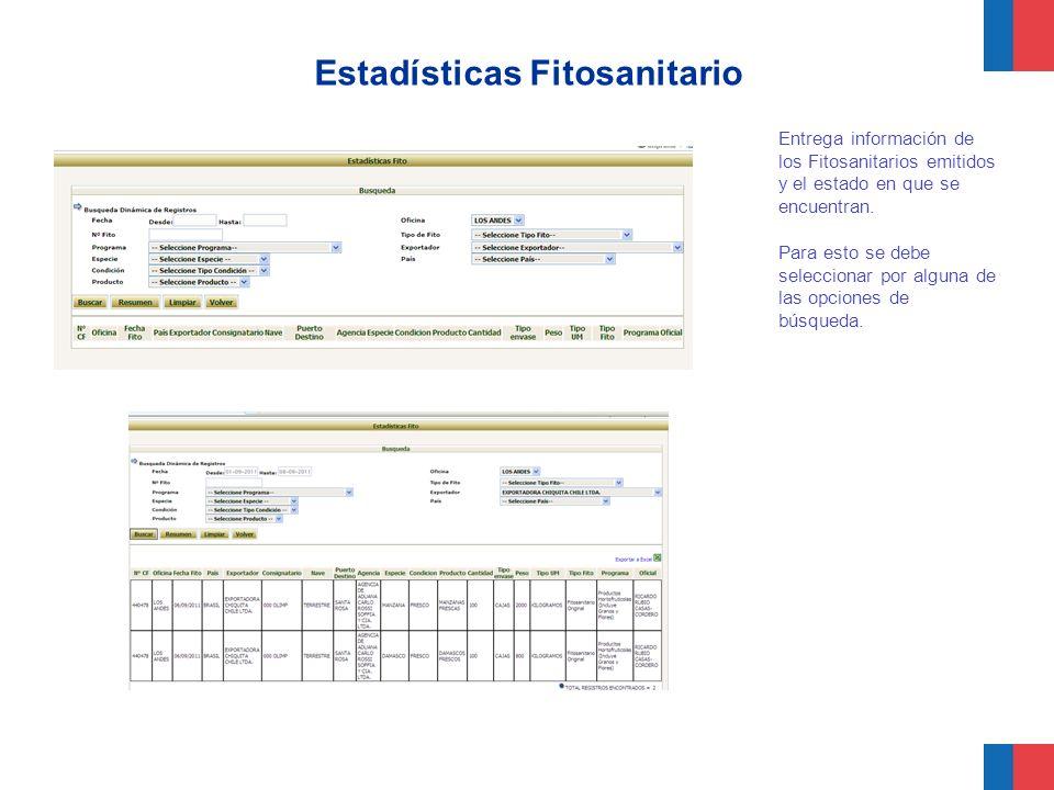 Estadísticas Fitosanitario Entrega información de los Fitosanitarios emitidos y el estado en que se encuentran. Para esto se debe seleccionar por algu