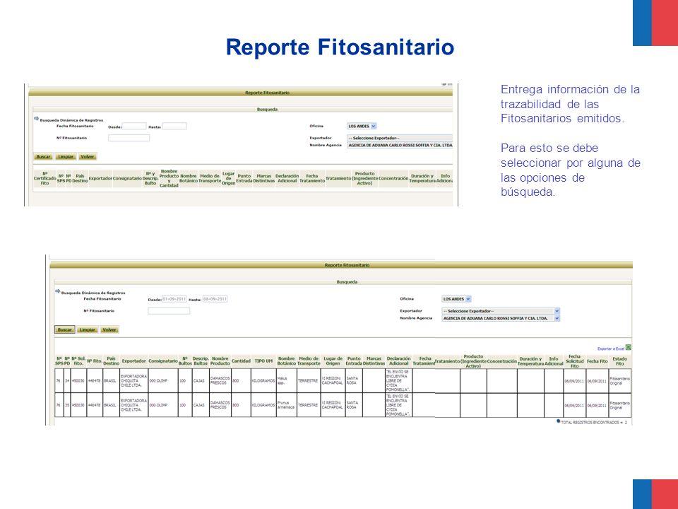 Reporte Fitosanitario Entrega información de la trazabilidad de las Fitosanitarios emitidos. Para esto se debe seleccionar por alguna de las opciones