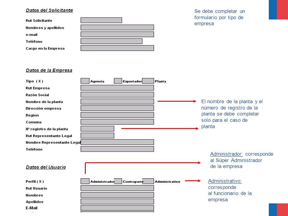 Se debe completar un formulario por tipo de empresa El nombre de la planta y el número de registro de la planta se debe completar solo para el caso de