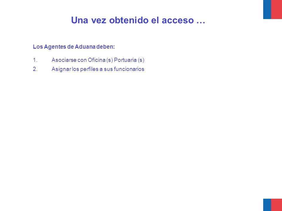Los Agentes de Aduana deben: 1.Asociarse con Oficina (s) Portuaria (s) 2.Asignar los perfiles a sus funcionarios Una vez obtenido el acceso …
