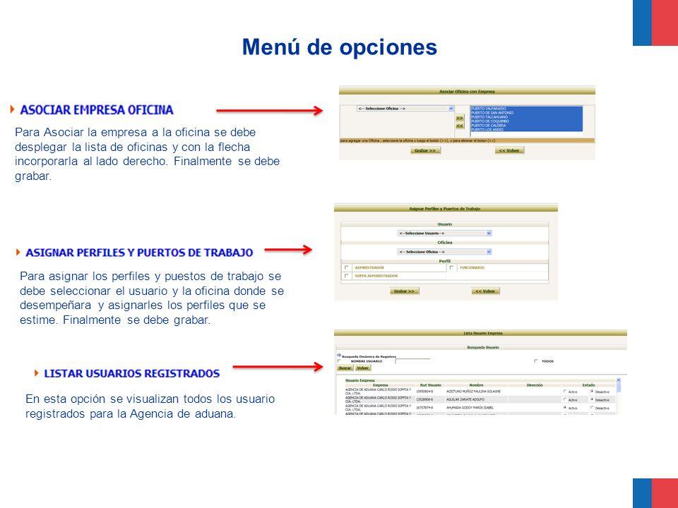 Menú de opciones Perfil de funcionario (Perfil operativo) Con este perfil se puede: Solicitar servicios (SPS) Modificar y eliminar SPS Ingresar y modificar planillas de despacho Ingresar solicitudes de fitosanitario Obtener estadísticas